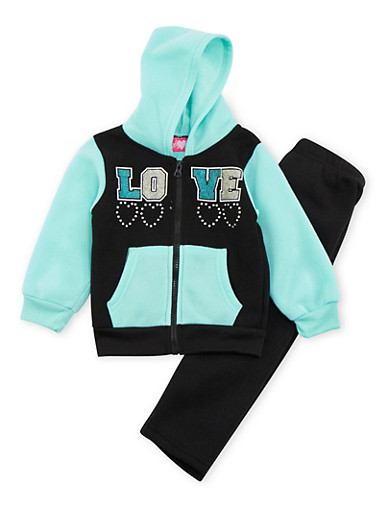 Baby Girl Hoodie and Sweatpants with Love Graphic,BLACK,large