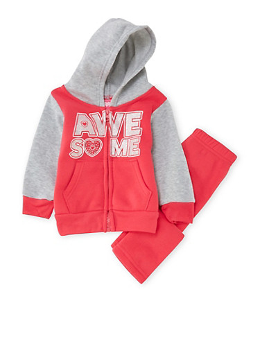 Baby Girl Hoodie and Sweatpants with Awesome Graphic,PINK,large