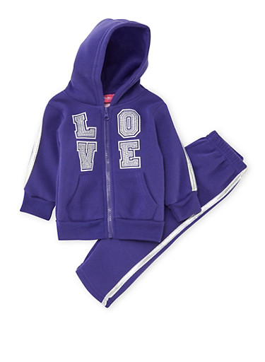 Baby Girl Graphic Hoodie and Sweatpants Set,PURPLE,large