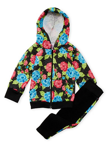 Baby Girl Zip-Front Hoodie and Joggers Set in Quilted Floral Print,BLACK,large