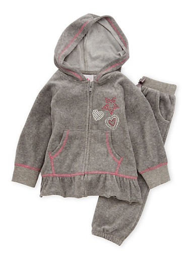 Baby Girl Velour Top and Bottom Set with Studded Hearts,CHARCOAL,large