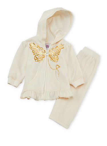 Baby Girl Ruffled Hoodie and Sweatpants Set with Graphic,IVORY,large