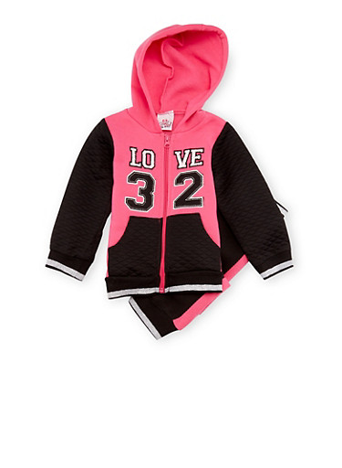 Baby Girl Love Graphic Hoodie with Sweatpants Set,BLACK,large