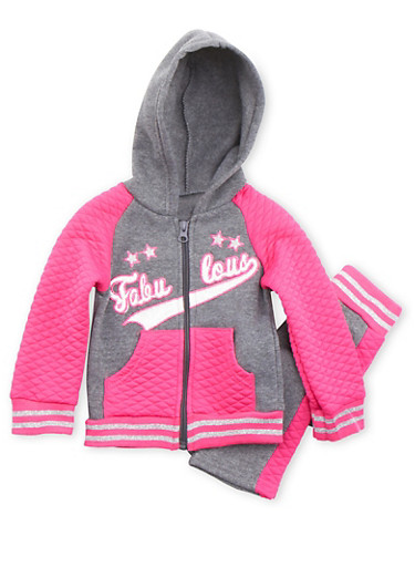 Baby Girl Zip Front Hoodie and Sweatpants Set,CHARCOAL,large