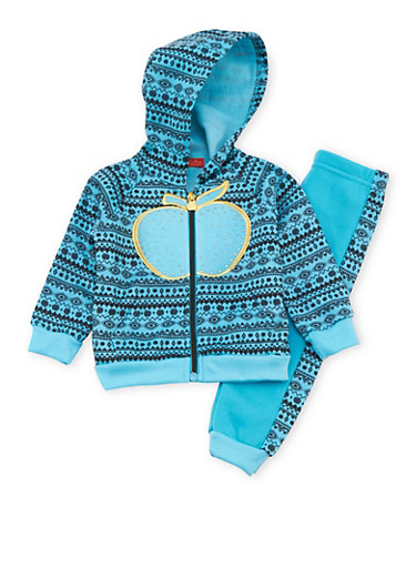 Baby Girl Apple Bottoms Joggers and Hoodie with Aztec Print,TURQUOISE,large