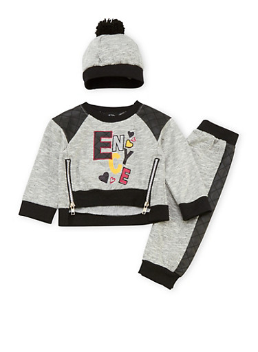 Baby Girl Enyce Sweatshirt with Joggers and Hat Set,BLACK,large