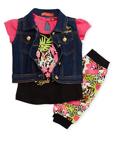 Baby Girl Apple Bottoms Graphic Tee with Denim Vest and Joggers Set,BLACK,large