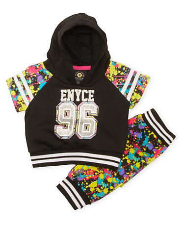Baby Girl Enyce Hooded Top and Joggers Set with Graphic,BLACK,large