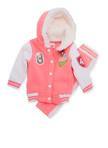 Baby Girl Varsity Hoodie and Joggers Set,NEON PINK,large