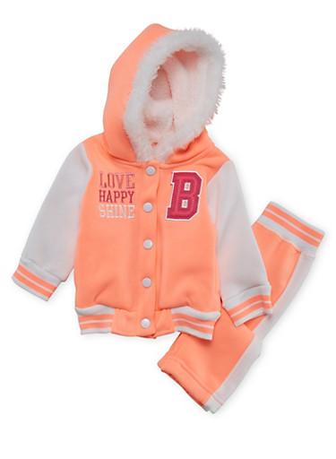 Baby Girls Hooded Varsity Jacket and Sweat Pants with Happy Print,NEON ORANGE,large