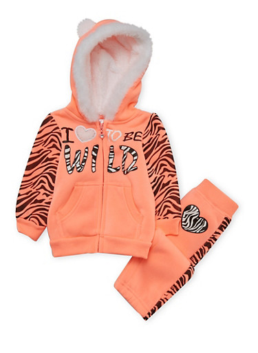 Baby Girls Animal Ear Hoodie and Joggers with Love to be Wild Print,NEON ORANGE,large
