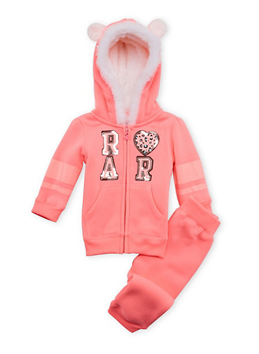Baby Girl Hoodie and Joggers Set,NEON PINK,large