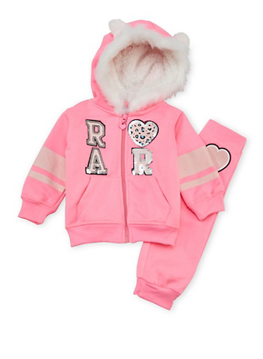 Baby Girl Graphic Hoodie and Joggers Set,NEON PINK,large