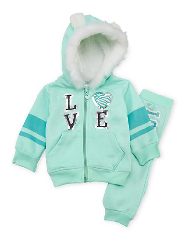 Baby Girl Animal Ear Hoodie and Joggers Love Set,MINT,large
