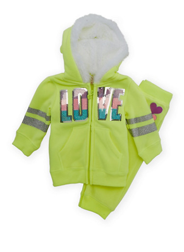 Baby Girl Hoodie and Joggers Set,NEON YELLOW,large