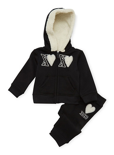 Baby Girl Hoodie and Joggers Set,BLACK,large