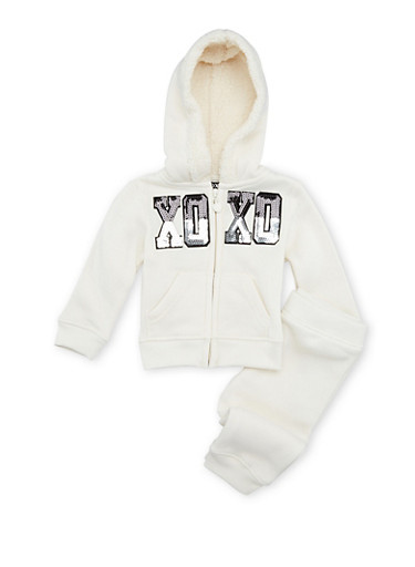 Baby Girl Hoodie and Joggers Set,IVORY,large