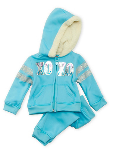 Baby Girls XOXO Sweat Suit with Sherpa Lined Hood,TURQUOISE,large