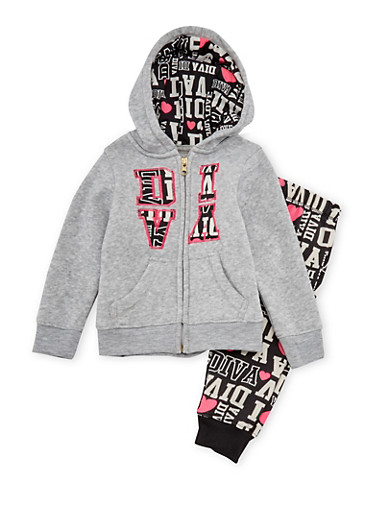 Baby Girl Diva Print Joggers and Hoodie Set,GREY,large