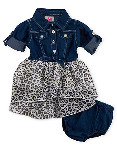 Baby Girl Denim and Leopard Print Dress with Denim Bloomers,WHITE,large