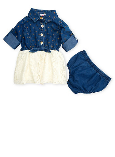 Baby Girl Denim and Lace Dress with Denim Panty Set,WHITE,large