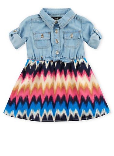 Baby Girl Chambray Dress with Chevron Skirt,LIGHT WASH,large
