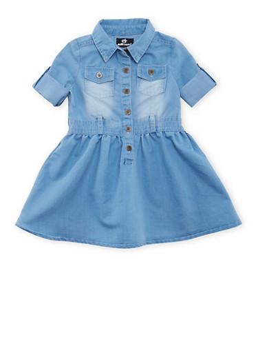 Baby Girl Denim Shirt Dress,LIGHT WASH,large