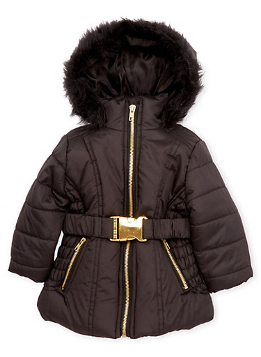 Baby Girl Belted Puffer Coat with Faux Fur Hood,BLACK,large