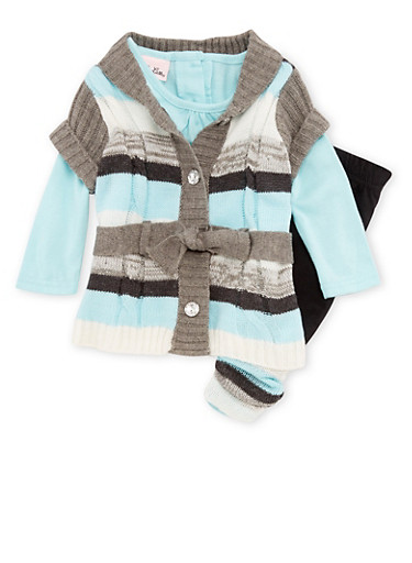 Baby Girl Long Sleeve Top with Button Front Sweater and Leggings Set,MINT,large
