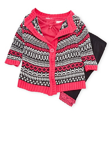 Baby Girl Top Leggings and Printed Cardigan Set,FUCHSIA,large