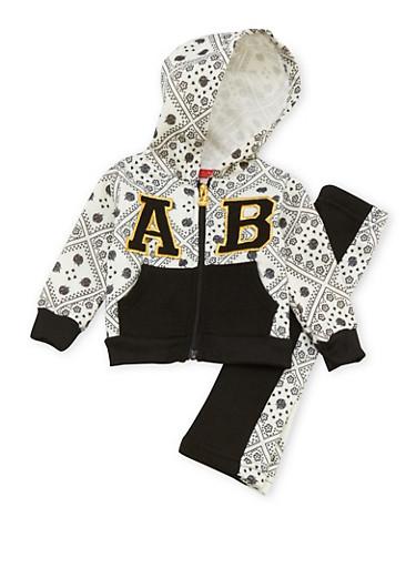 Baby Girl Apple Bottoms Zip Hoodie and Sweatpants Set,BLACK,large