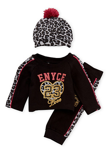 Baby Girl Enyce Graphic Top and Leggings Set with Hat,BLACK,large