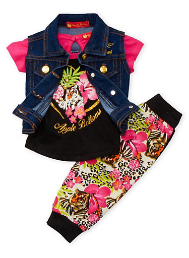 Baby Girl Denim Vest and Graphic Tee with Joggers Set,LEOPARD PRINT,large