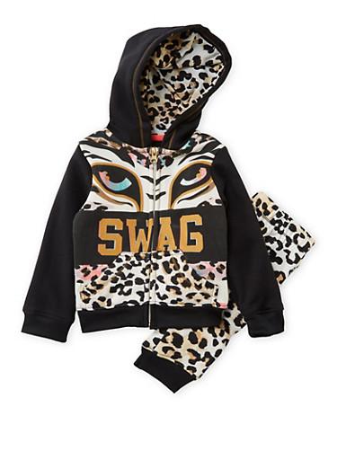 Baby Girl Diva Heart Hoodie with Printed Sweatpants Set,BLACK,large