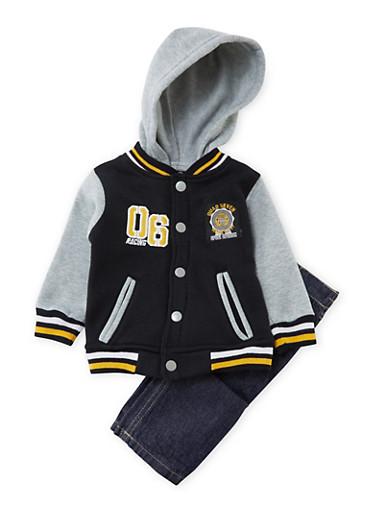 Baby Boy Hooded Fleece Bomber Jacket and Jeans Set,BLACK,large