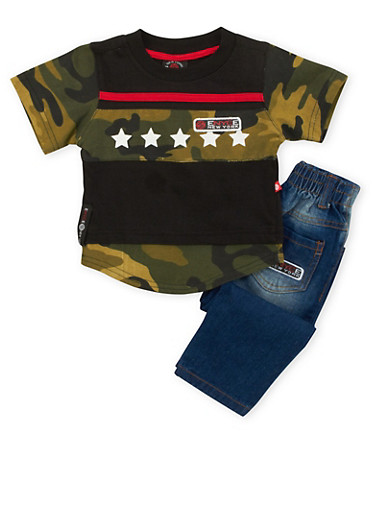 Baby Boy Enyce Camo Tee and Jeans Set,BLACK,large