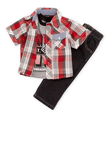 Baby Boy Enyce Graphic Tee and Plaid Shirt with Jeans Set,RED,large