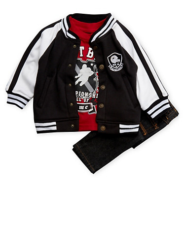 Baby Boy Varsity Jacket and Graphic Tee with Jeans Set,BLACK,large