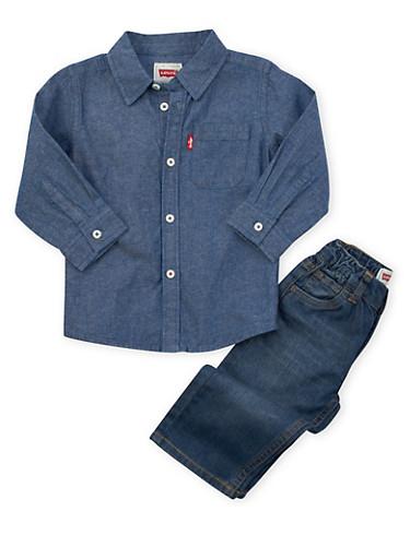 Toddler Boys Levis Denim Shirt and 526 Regular Jeans Set,DENIM,large