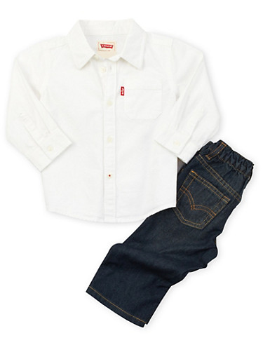 Toddler Boys Levis Jeans and Button-Up Set,WHITE,large