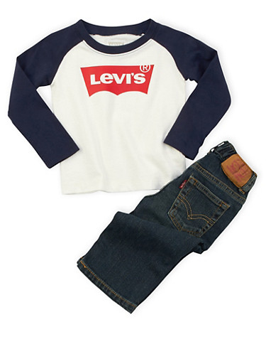 Toddler Boys Levis Raglan T-Shirt and Jeans Set,WHITE,large