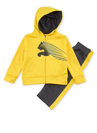 Baby Boy Puma Fleece Zip Up Hoodie and Pants Set,YELLOW,large