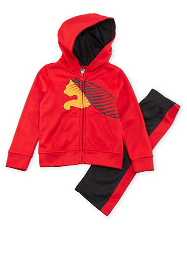Baby Boy Puma Zip Up Logo Hoodie and Striped Pants,RED,large