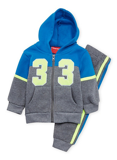 Baby Boy Numbered Hoodie and Joggers Set,LIME,large