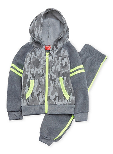 Baby Boy Camo Hoodie and Joggers Set,CHARCOAL,large