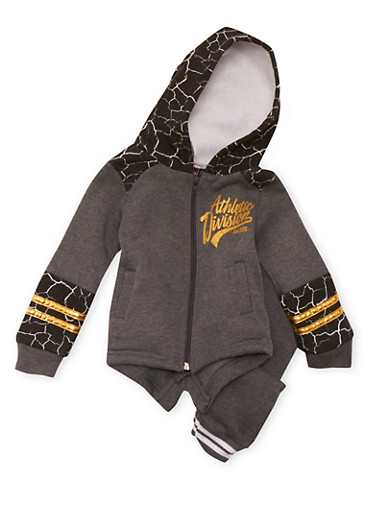 Baby Boy Hoodie and Joggers Set with Printed Panels,BLACK,large