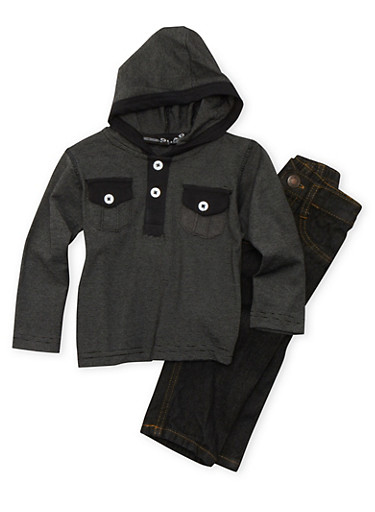 Baby Boy Striped Henley Hooded Top and Straight Leg Jeans,BLACK,large