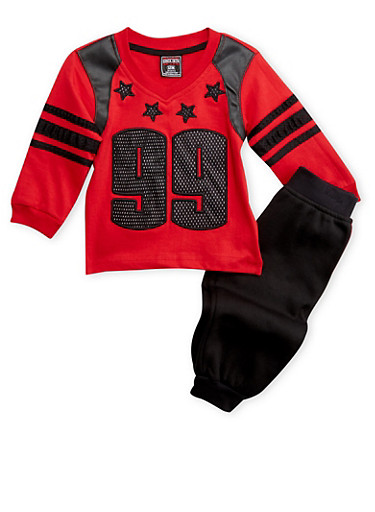 Baby Boy Sweatshirt and Joggers Set,RED,large