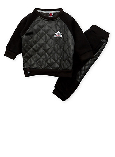 Baby Boy Enyce Knit Top and Joggers Set with Quilted Contrast,BLACK,large