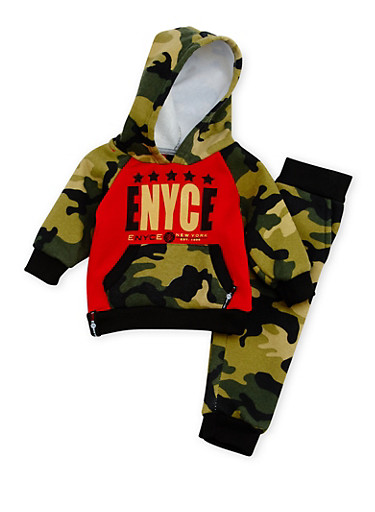 Baby Boy Enyce Graphic Camo Hoodie with Joggers Set,CAMOUFLAGE,large